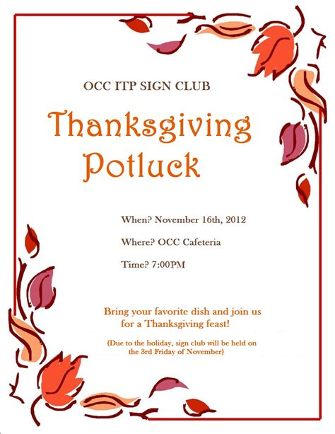 Potluck Flyer Template by Potluck Flyer Template