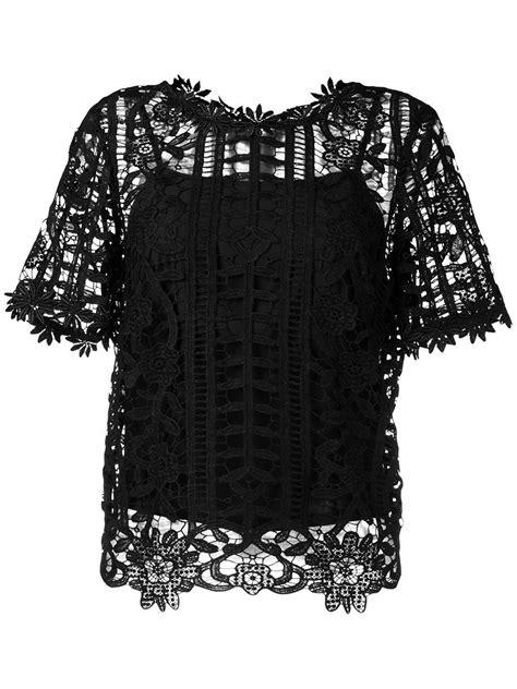 Lace Blouse Black Flower blugirl blumarine floral lattice lace top in black lyst