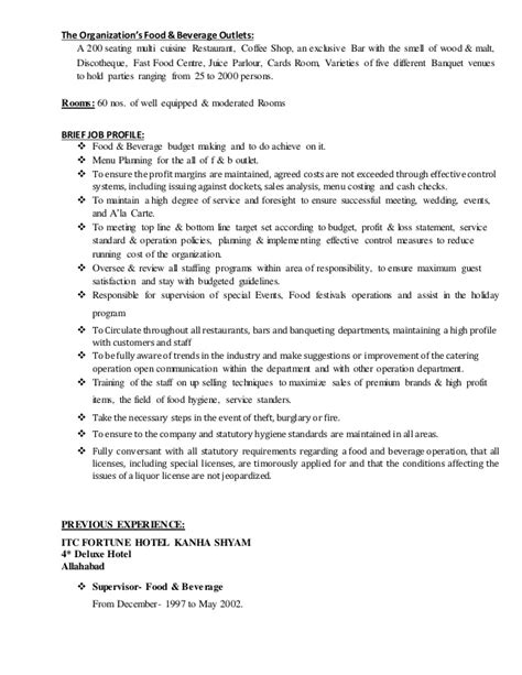 food and beverage manager resume sle 28 images 7 food