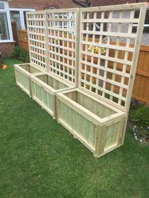 wooden planters with trellis garden decking planter local