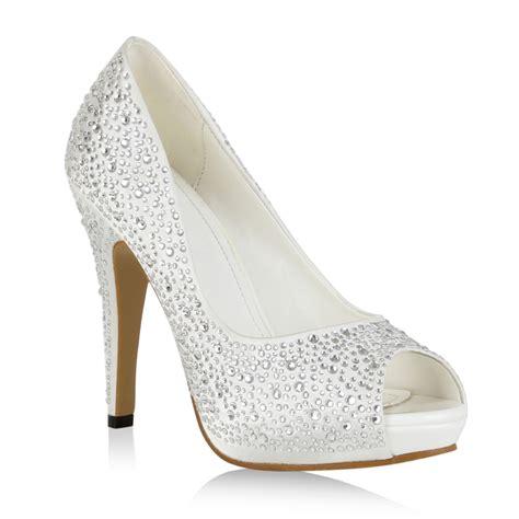 Hochzeitsschuhe Glitzer by Plateau Damen Pumps Glitzer High Heels Peep Toes
