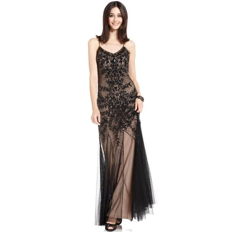 papell spaghettistrap beaded sequin evening gown