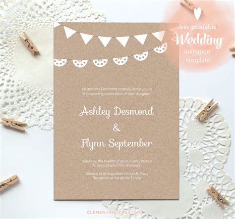 paper invitation templates free printable wedding invitation template free