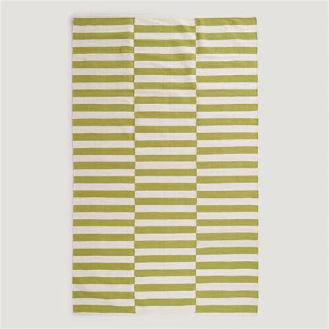 green dhurrie rug green and white stripe dhurrie rug world market