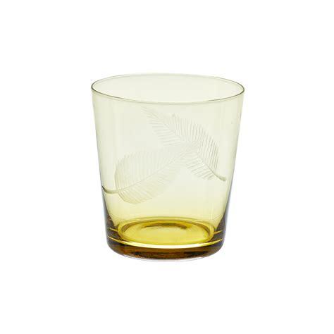 bicchieri di bicchiere vetro decorato foglie coincasa