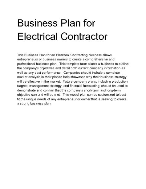 sle business plan general contractor electrical contracting business plan motavera com