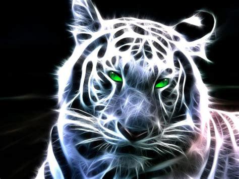 Kaos 3d Tiger Neon white fractal tiger totem talk
