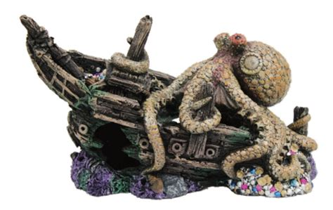 sunken pirate ship w octopus fish tank ornament