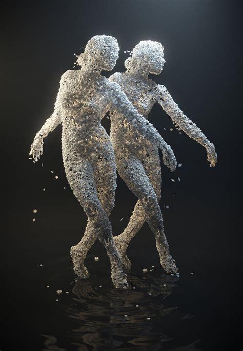 figure di fiori donne fatte di petali nella serie di sculture di jean