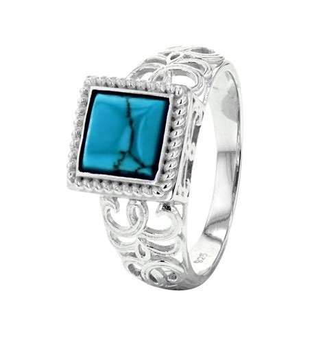 sterling silver square turquoise bali jewelry