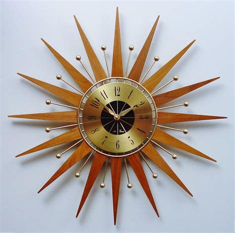 midcentury modern clock mid century modern starburst clock by seth atomic wall