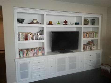 white wall unit bookcases custom entertainment centers designed built