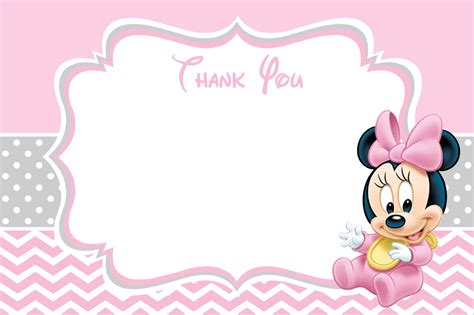 mini thank you cards template baby minnie mouse baby shower thank you card