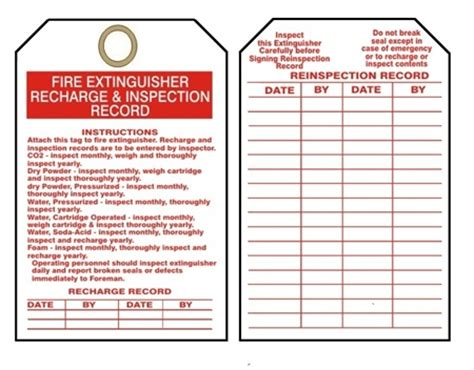 printable fire extinguisher tags fire extinguisher tags i recharge inspection record 25 pk