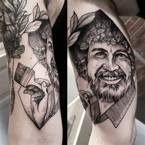 ross tattoos top 10 bob ross tattoos littered with garbage