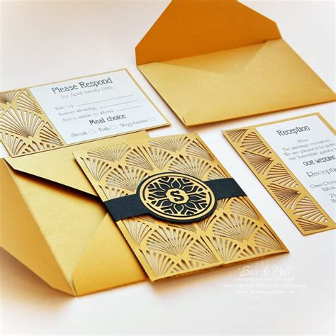 Cool Wedding Invitation Cards by Wedding Invitation Card Set Template Retro Vintage Deco