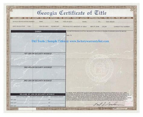 My Vehicle Title   F&I TOOLS   New Car Factory Warranty List