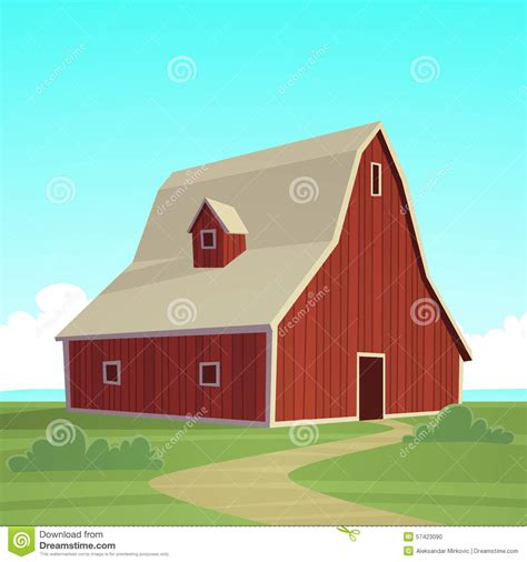 red farm barn stock vector illustration  organic