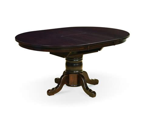 Amish Marbella Single Pedestal Dining Table With Butterfly Butterfly Leaf Dining Tables