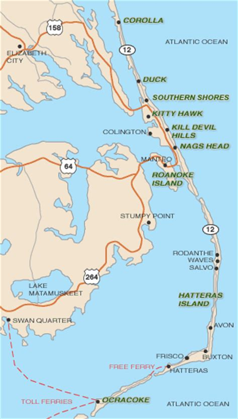 Roster Outer map of outer banks towns