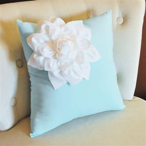 decorative white corner dahlia on light aqua pillow 14 x 14