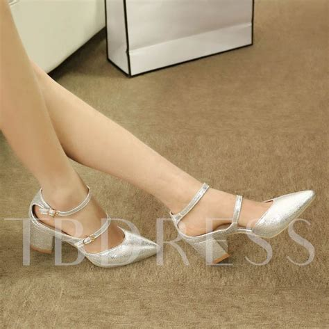 Pointed Chunky Heel Pumps chunky heel plain pointed toe buckle s pumps