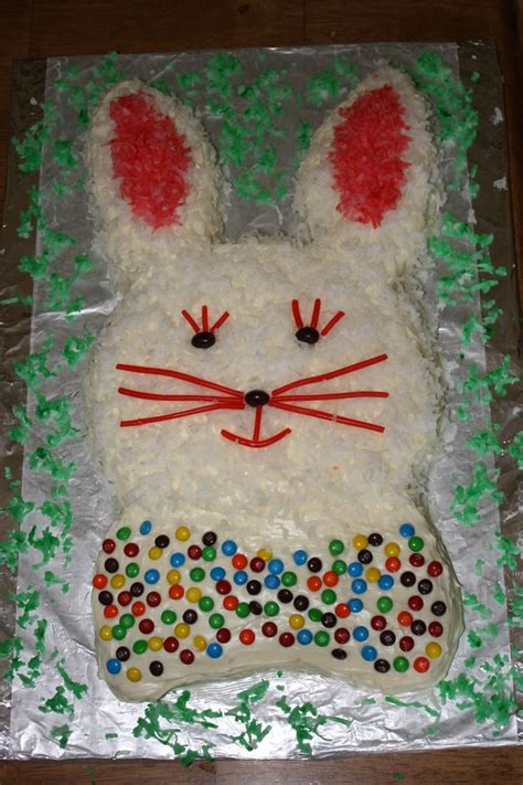 Decorating Bunny Cake easter bunny cake after decorating foods