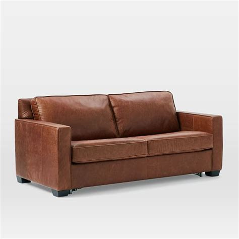 west elm henry leather sofa henry 174 pull down leather sleeper sofa full tobacco