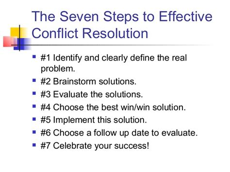 Real Steps To Resolution Relax With by The Seven Steps To Effective Conflict Resolution