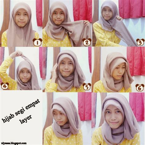 Tutorial Hijab Segi Empat Simple Wajah Bulat | 23 tutorial hijab paris segi empat simple dan modis