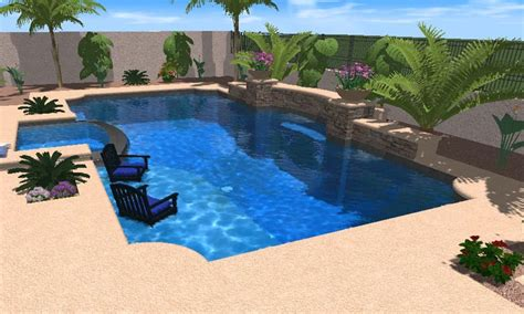 3D Pool Designs incorporating Spas and Hot Tubs   Desert
