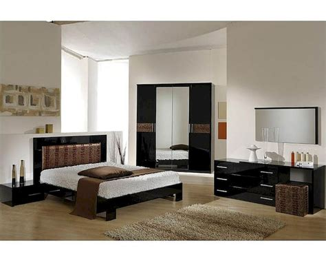 Black Contemporary Bedroom Set | modern bedroom set in black brown finish made in italy