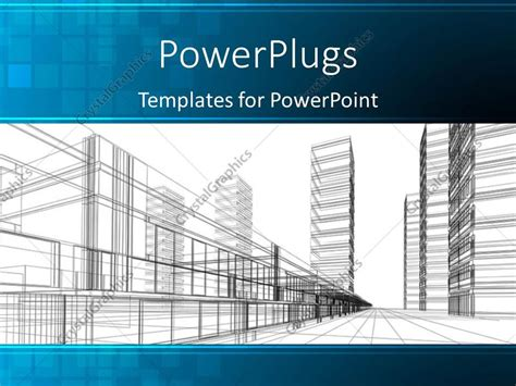 powerpoint template an abstract architectural drawing of