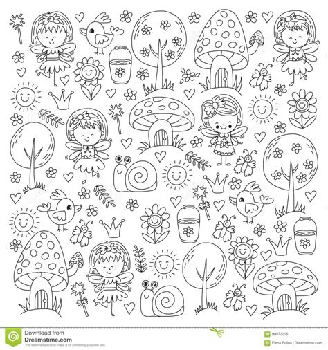 pattern and texture ks1 illustration of magic forest with fairies doodle pattern