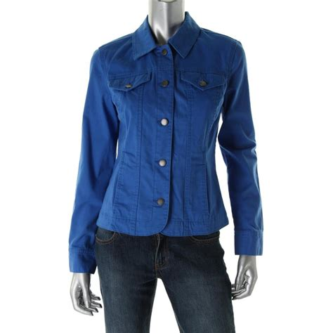 colored jean jackets charter club 7779 new womens blue colored denim collared