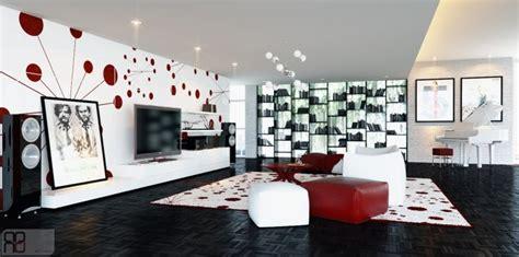 design graphics room red white graphic feature wall interior design ideas