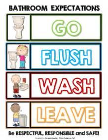 Bathroom Etiquette At School Bathroom Expectations Go Flush Wash Leave Sign