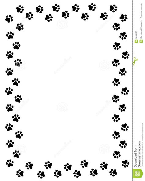 Paw Print Page Border Clip by Paw Prints Border Stock Vector Illustration Of Greeting