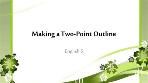 Two Point Outline Exle by 2nd Qtr 9 A Two Point Outline