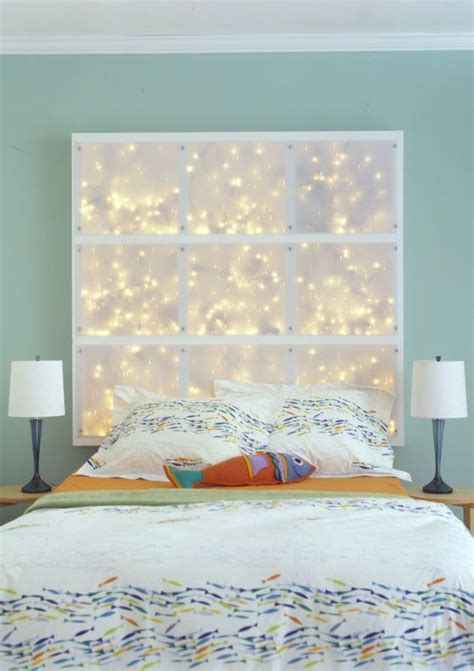 diy headboard with lights string lights behind canvas for a headboard for the home