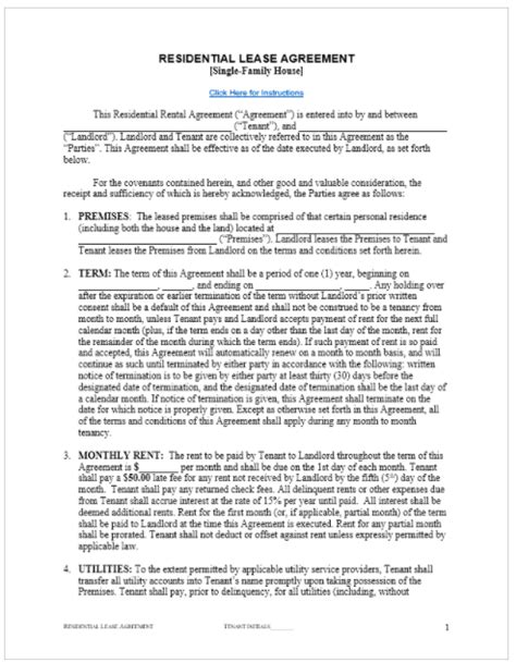 rental agreement template free top form templates free