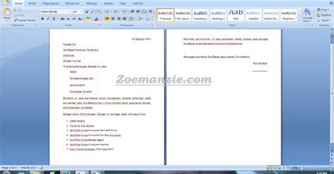contoh surat lamaran kerja terlengkap zoemanzie
