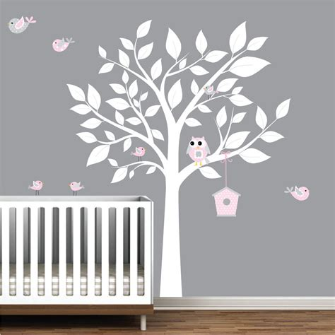 Wall Decal Nursery Tree Nursery Wall Decal White Tree With Birds Bird House Wall