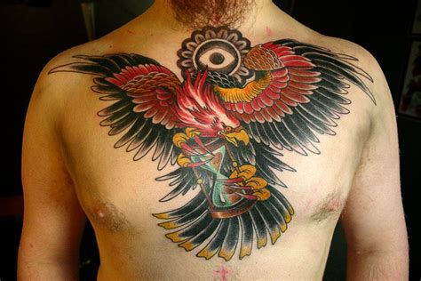 tattoo old school chest chest old school eagle neck tattoo by kings avenue