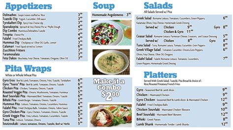 greek food menu items food ideas