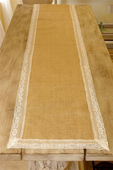burlap lace table runner 16x74in