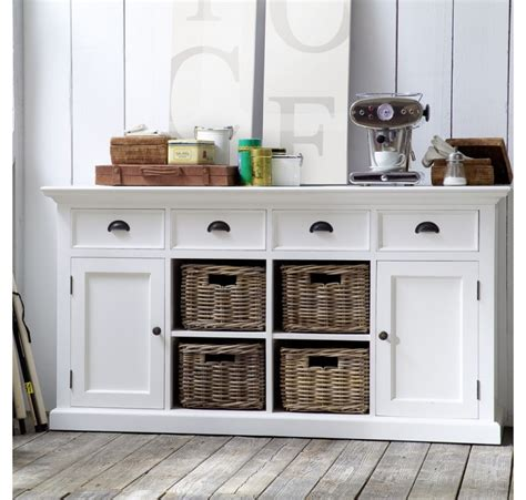 Commode Rotin Blanc by Buffet Commode Bois Blanc Leirfjord 2 Portes 4 Paniers