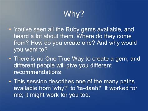 rubygems ruby how to write a gem stack overflow writing a ruby gem for beginners