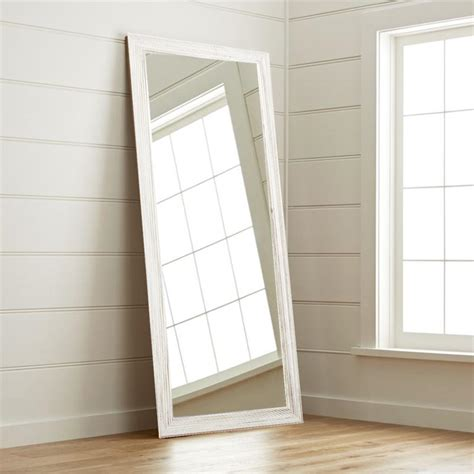 new interior 32 in x 65 in weathered white floor mirror av18tall the home depot