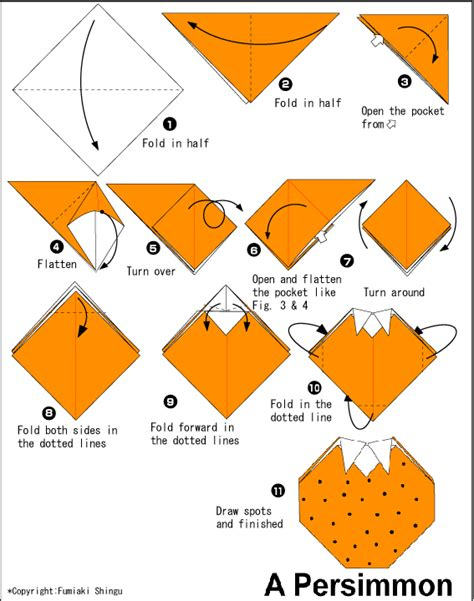 Origami Fruit - persimmon easy origami for